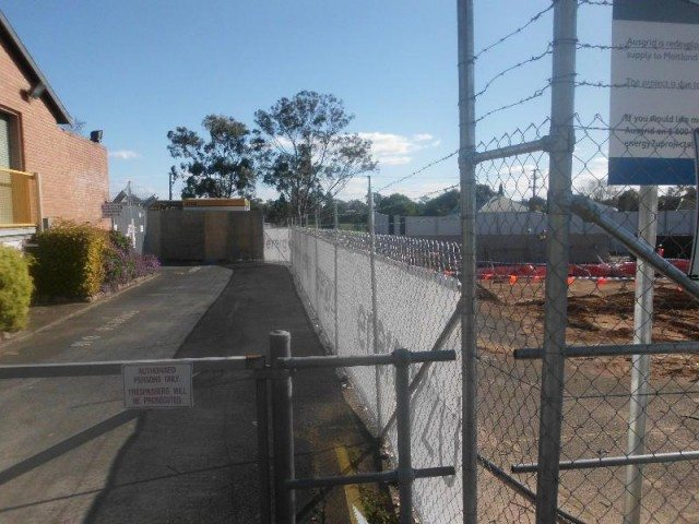construction site with banner mesh fencing