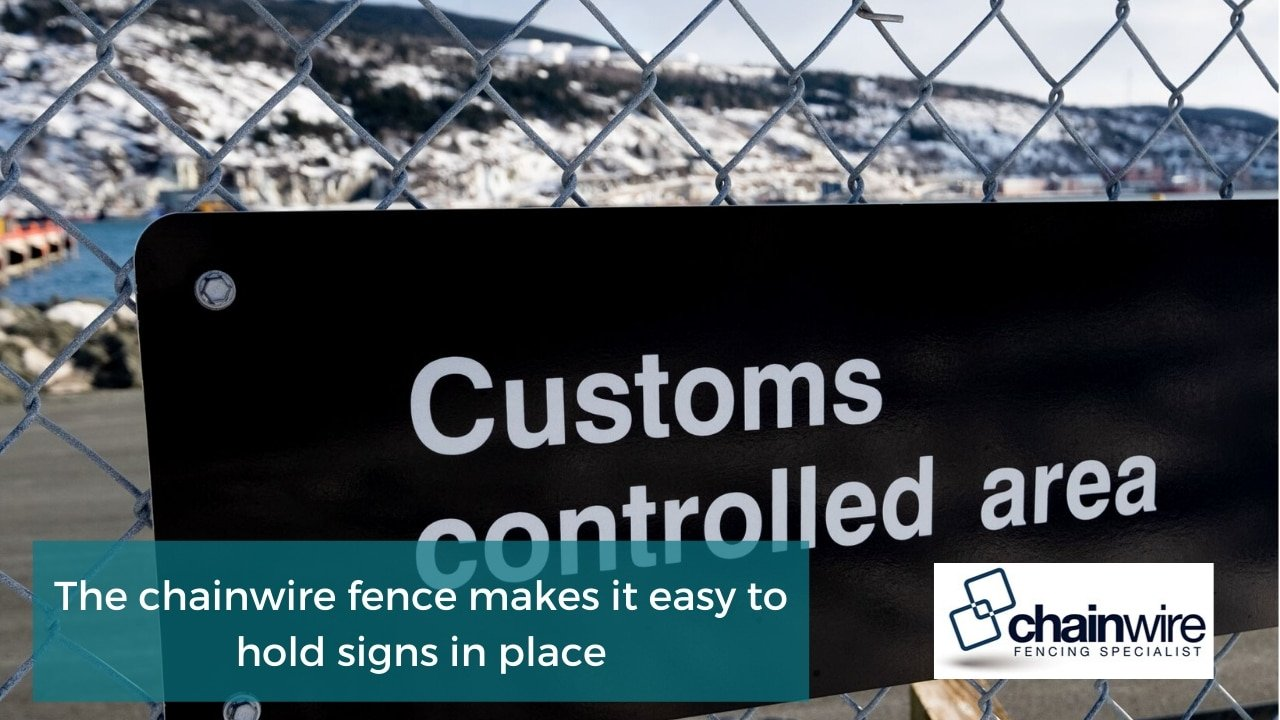 The chainwire fence makes it easy to hold signs in place
